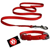 Pawzone Nylon Red Leash With Collar Set For Puppy