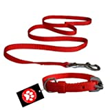 #1: Pawzone Nylon Red Leash With Collar Set For Puppy