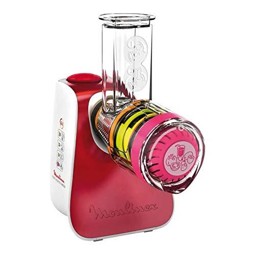 Moulinex DJ764510 Hachoir avec accessoires en acier inoxydable et plastique, 200 W, Rouge, Blanc