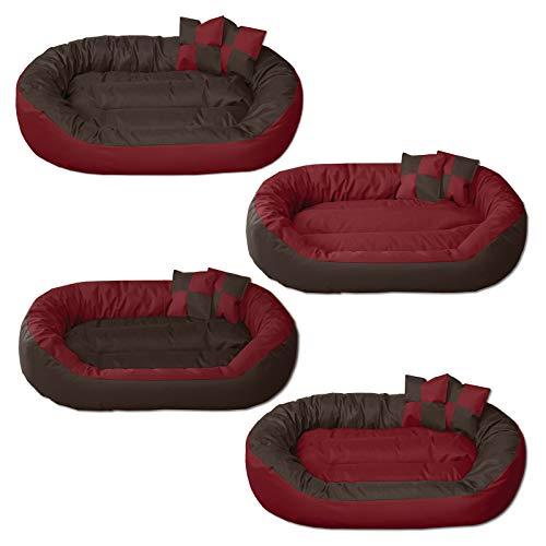 Beddog 4 in 1 letto per cane sunny xl fino a xxxl, 13 colori a scelta, cuscino per cane, divano per cane, cestino per cane, marrone/rosso xxl