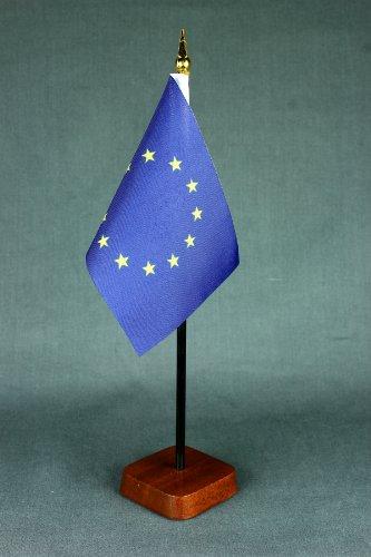 Kleine Tischflagge Europa Europaflagge 15x10 cm mit Tischflaggenständer 30 cm aus Holz, sehr standfest