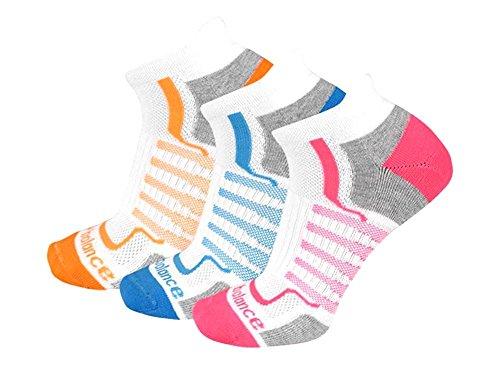 New Balance Damen Performance Low Cut Tab Socken (3Pack), Damen, White/Pink/Orange/Teal -