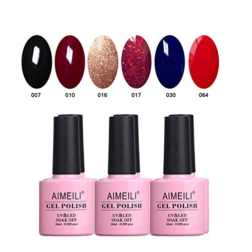 AIMEILI UV LED Gellack mehrfarbig ablösbarer Gel Nagellack Gel Nail Polish Set Kit - 6 x 10ml - Set Nummer 21 -