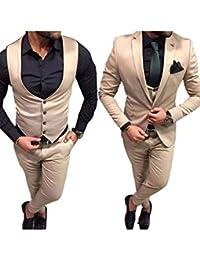 YZHEN Hommes Pantalon 3 Pièces en Tailleur Pantalon à Revers pour Hommes c35ccedf1b2