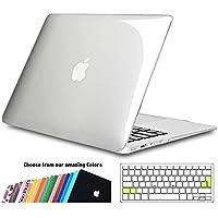 iNeseon Funda MacBook Air 13, Carcasa Delgado Case Duro y Cubierta del Teclado Transparente EU Layout para MacBook Air 13.3 Pulgadas Modelo A1466 y A1369, Transparente
