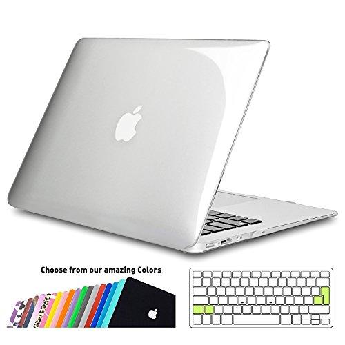 iNeseon MacBook Air 13 Zoll Hülle Case, Slim Plastik Hartschale Schale Cover mit EU Transparent Tastaturschutz Schutzhülle für Apple MacBook Air 13.3 Zoll, Modell A1466/A1369 (Kristallklar)