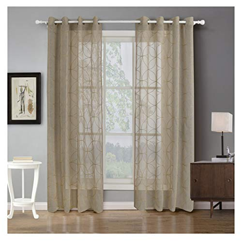 Auspiciousign diseño geométrico bordado cortinas