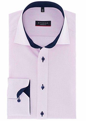 ETERNA Modern Fit Hemd extra langer Arm Gitterkaro rosa AL 68 Rose
