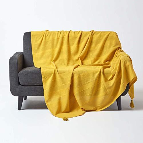 Homescapes Tagesdecke Rajput aus 100% Baumwolle, gelb, 225 x 255 cm - Sofaüberwurf Überwurfdecke Couchüberwurf in RIPP-Optik
