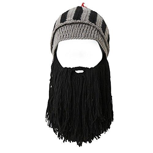 Lantra Besa Damen Herren Römischer Krieger Helm Mütze mit Bart Lustige Bartmütze Maske für Karneval Halloween Cosplay Party CC0004 - Schwarzer Bart