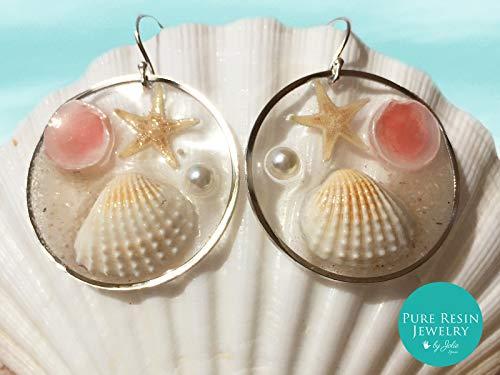 Seastar Silber- trendige Boho-Chic Glas Ohrringe, Strand Szene Creolen, echte Muscheln und Seesterne, Ozean Schmuck, klare Harz Creolen, Geschenk für sie - ER42P