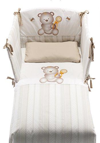 Azzurra Design - Cuna Web, de color blanco, para bebés Lettino con decoro web bianco + set tessile dolcemiele + materasso ares