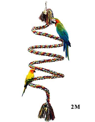 ALPHA DIMA Vögel Spielzeug,2M Bunte Parrot Climbing Rope Sling,Schaukel Spielzeug,Spirale Stehen-seil,Regenbogen Cotton Rope Parrot mit Glocke