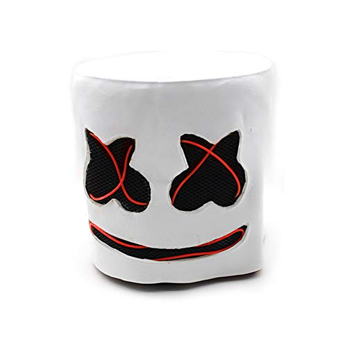 WEISY LED Marshmello Light Up Helm DJ Maske Vollgesichtsbedeckter Helm Halloween Cosplay Latex Maske Bar Musik Requisiten/DJ Dekokissen Abdeckung/Plüschtier