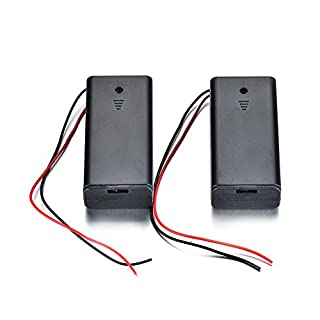 ATOPLEE 2pcs Wire Leads Battery Holder with Switch and Cover for 2AA battery