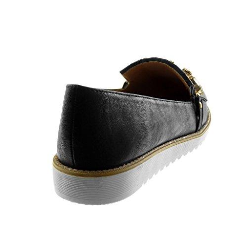 Angkorly Scarpe Moda Mocassini Slip-On Donna Gioielli Frange Lucide Tacco Tacco Piatto 2.5 cm Nero