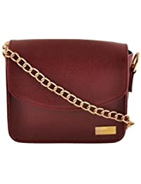 Yelloe_maroon_Synthetic Leather_sling Bag