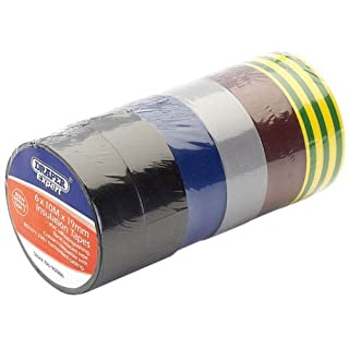 Draper 90086 6-Pack Mixed Colour Isulation Tape to BS EN60454 (10 m x 19 mm)