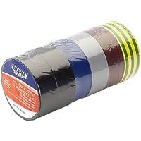 Draper 90086 - Lote de rollos de cinta aislante (10 m x 19 mm, 6 unidades), varios colores