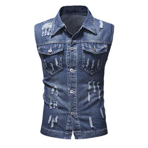 CuteRose Men Vintage Wash Sleeveless Distressed Denim Vest Jacket Outwear Dark Blue XL Medium Wash Denim Vest