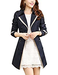 Ghope Femme Revers Splice Manteau Slim Trench Jacket avec Ceinture de Taille  Double Boutonnage Manteau Vetements 7c3b8944d80