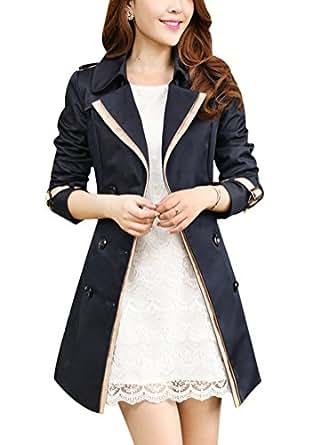 Slim Taille Jacket Revers Splice Double Ghope Boutonnage D'exterieur Avec Manteau De Ceinture Trench Femme Vetements Pk0OnwX8