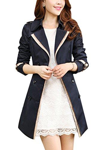 31474b41ae88 Ghope Damen Casual Trenchcoat Winterjacke Jacke Mantel Jacket Outwear  Oberteil Navy