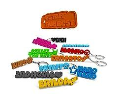 Idea Regalo - eStaff Portachiavi personalizzato. Personalizzabile con nome, scritta o frase e simbolo a scelta, da completare con anello, catenina o moschettone. Per Uomo/Donna (2 Pezzi)