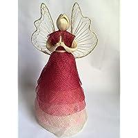 Engel rot, mehrschichtiges Kleid, Flügel geflochten mit Drahtrahmen; H ~ 30cm