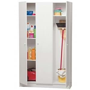 Colonna mobile porta oggetti scope ripostiglio 3 ante bianco cl1079 l109h180p37 casa - Mobili per ripostiglio ...