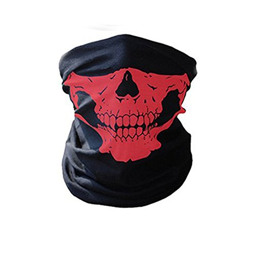 e Totenkopf-Maske– Schlauchschal/Sturmhaube für das Motorrad-, Snowboard-, Ski- oder Radfahren, Herren, rot (Wirklich Coole Masken)