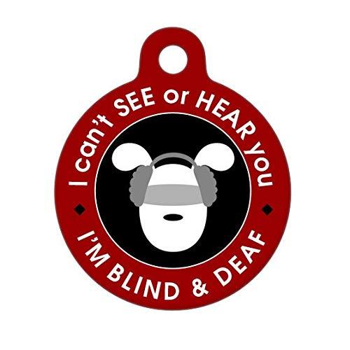 Burkeroan Haustiermarke für Hunde, Katzen, Blind- und Taubenhund, Ich kann Nicht sehen oder hören -
