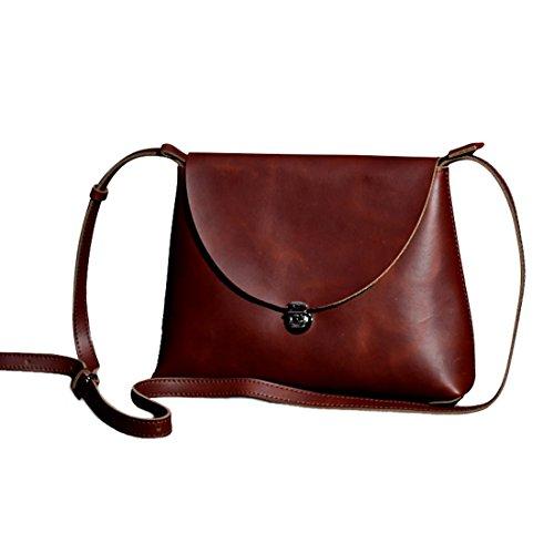Presentski Handgemachte echtes Leder Crossbody Schulter-Beutel für Frauen Mädchen (Handgemachte Handtasche)