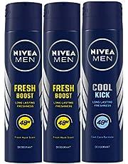 Nivea Men Power Boost Deodorant, 150ml (Pack of 2) and Men Cool Kick Deodorant, 150ml