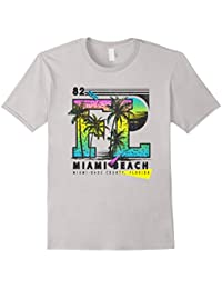 Retro 80's Miami Beach Palmtree Sunset Men Women T-shirt