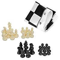 Pangding Plastic International Chess, Portable Board Game Set Medieval Entertainment Black & White