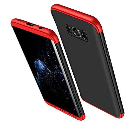 Qissy® Carcasa Samsung Galaxy S8 Plus ,3 in 1 Todo incluido Anti-Scratch Ultra Slim Protective 360 PC Case Cover para Samsung Galaxy S8/S8 + (Samsung Galaxy S8, Rojo+negro)
