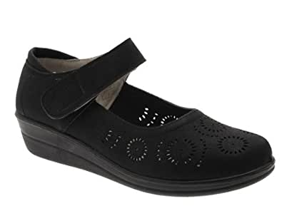DR LIGHTFOOT WOMENS LEATHER LINED WIDE COMFORT VELCRO MARY JANE LOW WEDGE COURT SHOES SANDALS BLACK 6