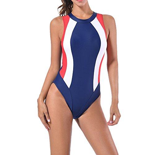FOCLASSY Bikini Badeanzug Damen Einteiler Sport BIKINI Badeanzug Klassisch Ärmellos Plus Size Reißverschluss Hinter Push Up Bademode mit Chest Pad-1698 (XXL, BLUE)