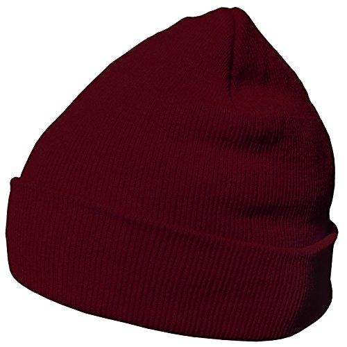 DonDon Wintermütze Mütze warm klassisches Design modern und weich weinrot