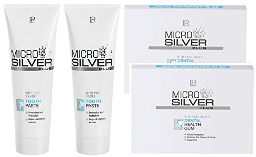 LR Microsilver Plus Zahnpflege-Set (2x 75 ml Zahncreme & 2er Pack Kaugummis)