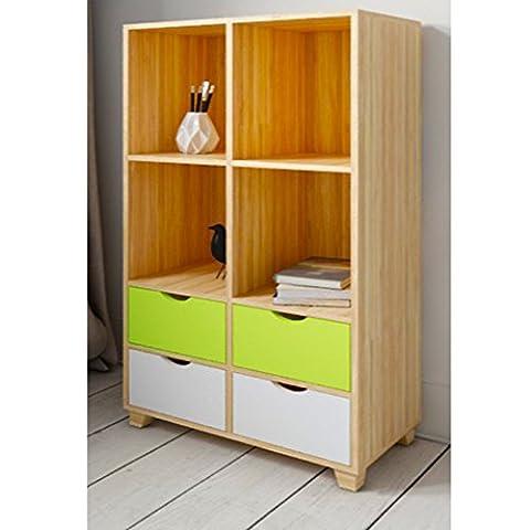 New Retro Bookcase Storage Shelving Unit 4 Drawer Home Office Study Furniture (Retro Bookcase)