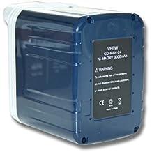 vhbw Batería NiMH 3000mAh (24V) para herramientas Makita BTW200WA, BTW200WAE, DK2401HF, DK2402HF como 193127-4, B2417, B2420, B2430, BH2433.