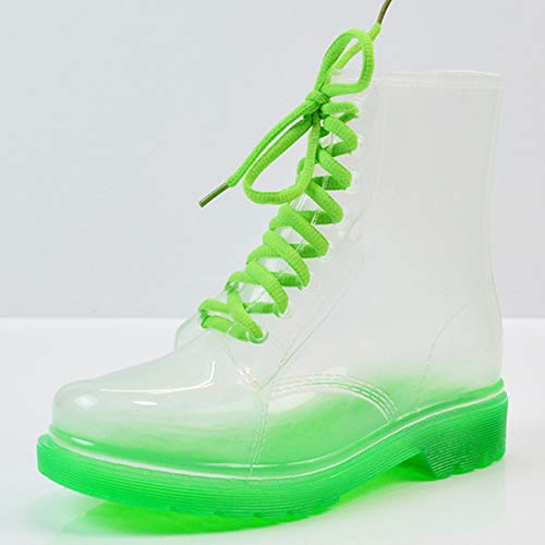 EgBert Transparente Frauen Martin Boots Print Jelly Boots Schuhe Frauen Clear Rain Boots Shiny Lace-Up Flower Pattern Lady Boots - #05-39 Jelly-thermometer