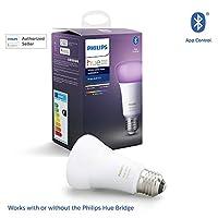 Philips Hue UAE White and Colour Ambiance LED Smart Bulb, Bluetooth & Zigbee compatible ( Hue Bridge Optional ), Works with Alexa & Google Assistant, Multi-Colour