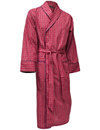 Men's Lightweight Cotton Dressing Gown - Wine & Navy Check Pattern