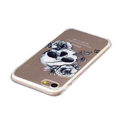 TPU Cover per iPhone 7 Custodia, ZCRO Silicone Gel Trasparente Morbido TPU Cover Gomma Flessibile Ultra Sottile con Colorate Disegni Bumper Chiaro Slim Case Protettiva Caso con Penna Stilo per iPhone  Fiore del cranio
