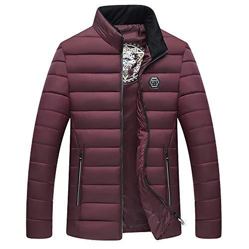 JUTOO Nouvelle Mode Veste en Coton Chaud pour Les Hommes et Automne col Cap Manteau de Coton Veste(Vin Rouge,2XL)