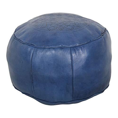 Casa Moro Marokkanisches Leder-Sitzkissen Asli Navy Blau rund Ø 50 x H 30 cm inklusive Füllung | Polsterhocker Sitzpouf Fußhocker Hocker Sitzhocker | Echt-Leder Pouf aus Marrakesch | MO4268