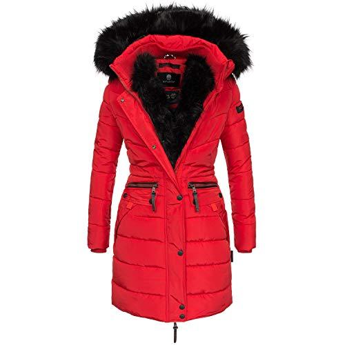 Navahoo Damen Winter Jacke Mantel Parka warm gefütterte Winterjacke B383 [B383-Paula-Rot-Gr.XS] Parka Mantel